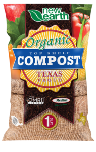 Organic Top Shelf Compost 1 cubic feet bag (sack with veggies close up as background)