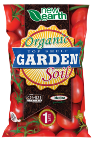 Organic Top Shelf Garden Soil 1 cubic feet (close up of tomatoes background)