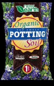 Organic Top Shelf Potting Soil 1 cubic feet bag (Bluebonnet field background)