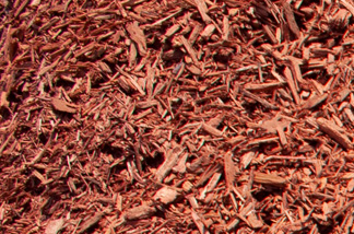 close up of red dyed mulch