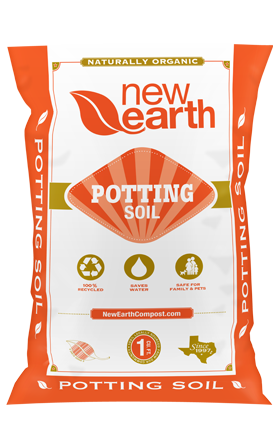 Orange and gold bag for Potting Soil
